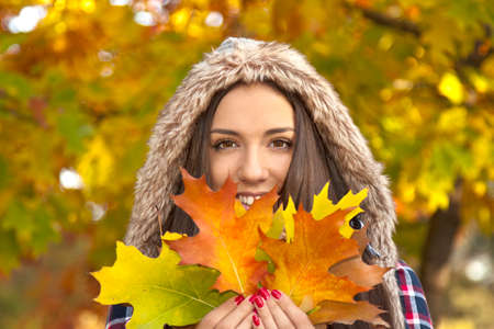 young girl outdoors in autumn Stock Photo