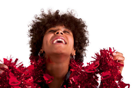 african american woman with christmas ornaments stock photo 47798134