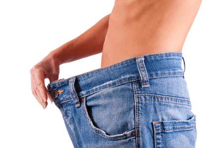 slim woman: slim woman in big pants, slimming