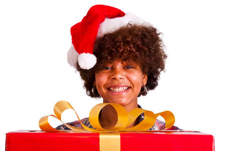 black color: african american girl with christmas gift Stock Photo