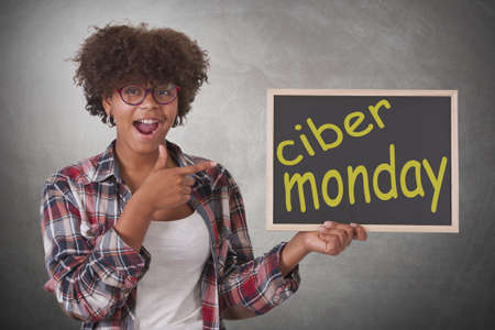 young woman with cyber monday message
