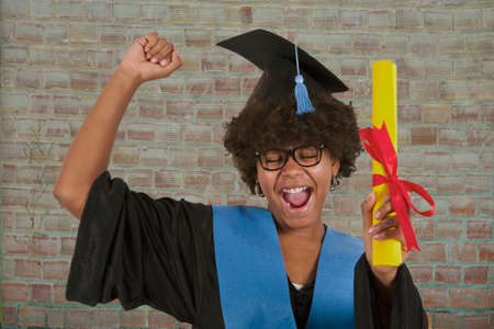 the fittest: college girl graduated with diploma Stock Photo