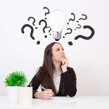 trading questions: woman in office with doubts and questions