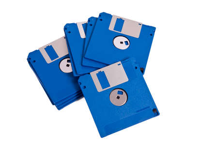 time drive: old floppy disks isolated on white background