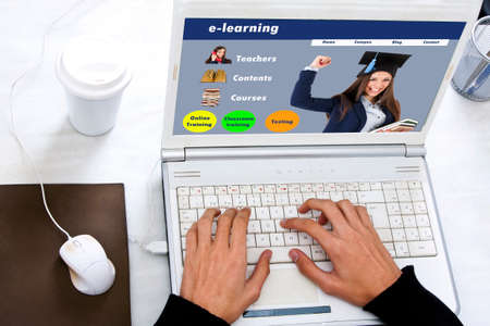 digital design: concept of e-learning on the computer screen Stock Photo