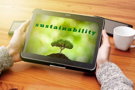 desarrollo sustentable: concepto de desarrollo sostenible en la tableta