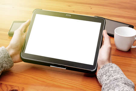 screen: mobile tablet with blank screen