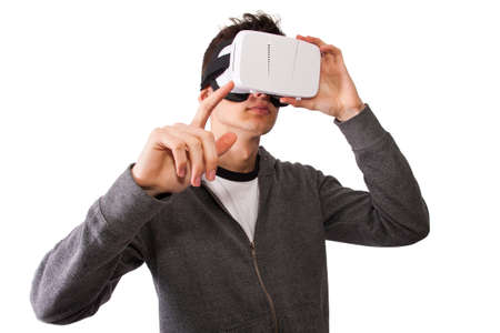 rift: boy with virtual reality glasses isolated