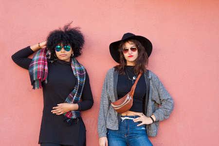informal clothing: fashion girls on street