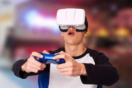 virtual reality simulator: boy with virtual reality game
