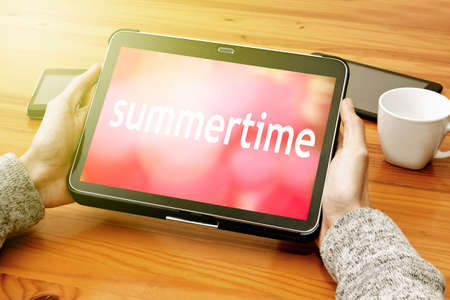 peace plan: summer time in the tablet Stock Photo