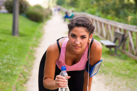 liberated: woman doing sport outdoors Stock Photo