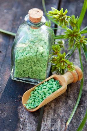 salts: natural salts on wood Stock Photo