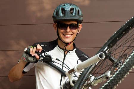 mountain biker: mountain biker with bike