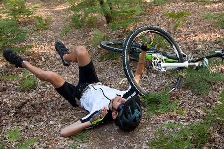 mountain biker accident on the mountain running