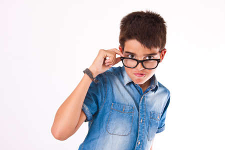 attentive: attentive boy with glasses isolated