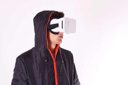 virtual man: young man with virtual reality viewer