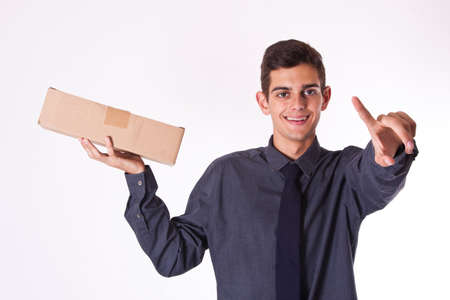 courier: package courier isolated with cardboard