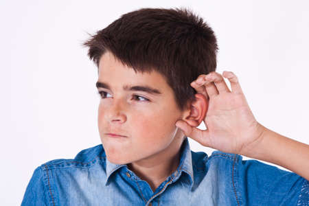 occurrence: isolated on white boy listening