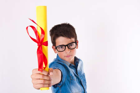 child with a diploma isolated on white background Stock Photo