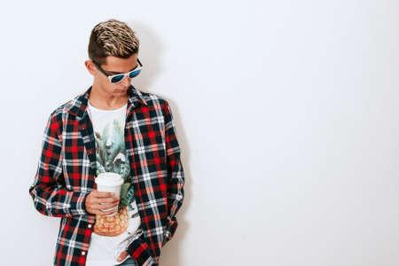boy urban style on white background