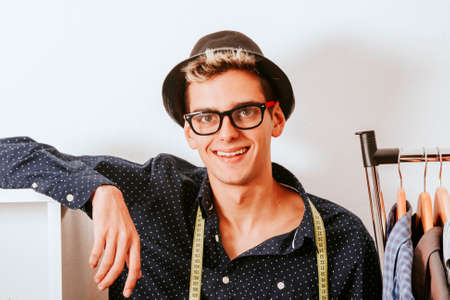 enterprising: creative young man in fashion workshop Stock Photo