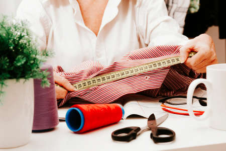 woman working in the sewing and fashion Stock Photo
