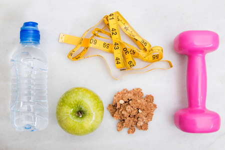 top view of ingredients in the diet and weight loss, health and wellness Stock Photo