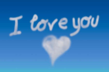 message of love with clouds in the sky, i love you
