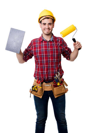 smiling worker with tools for painting