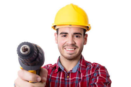 man with drill or screwdriver and construction helmet isolated on white background