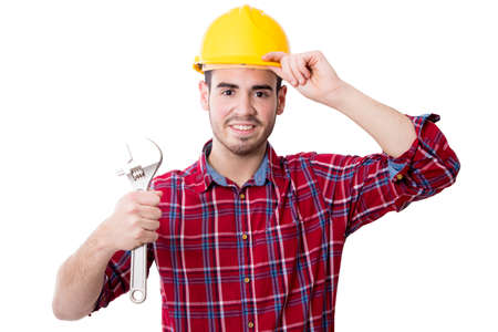 worker and professional construction and repair isolated on white Stock Photo