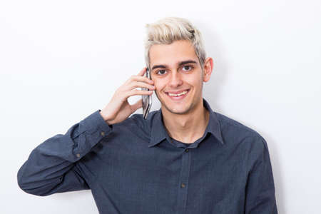 whithe: modern young man portrait Stock Photo