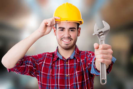 the construction worker and technician on background Reklamní fotografie