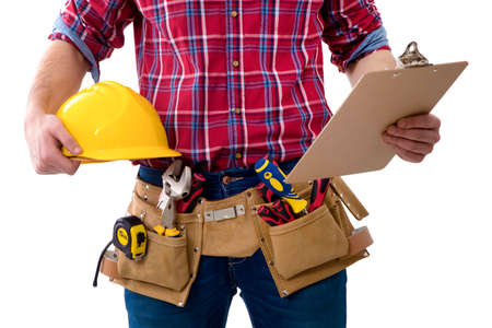 closeup of the worker of the construction with the helmet and the folder of the documents Stock Photo