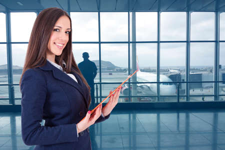 woman of business or hostess at the airport