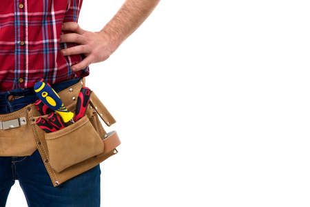 closeup of the bricklayer with tools belt isolated on white Stock Photo