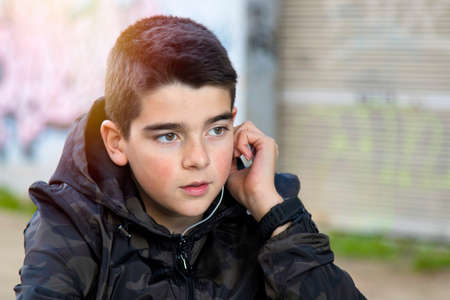 portrait of boy handsome to outdoor Stock Photo