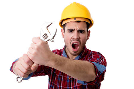 key worker shouting, construction and repairs Stock Photo