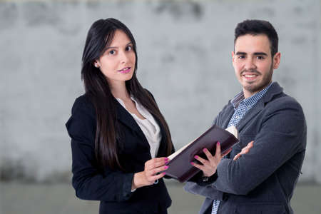 man and woman of business, equipment of work and advisory