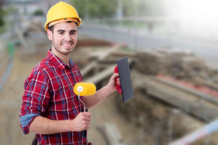 architect: bricklayer tools to work and paint, builder Stock Photo