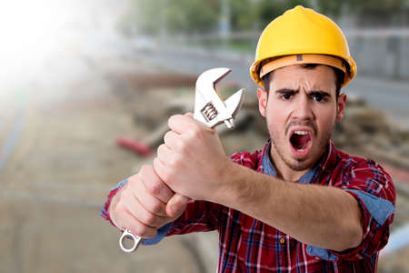 architect: construction worker screaming tools