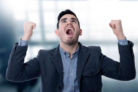 modern screaming young man Stock Photo