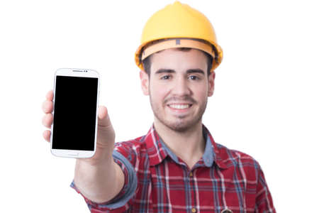 in the hand of the builder mobile phone