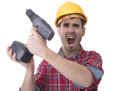 construction drill worker, screaming