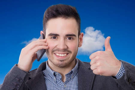 young talking on mobile phone man