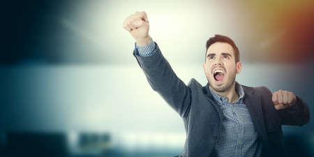 businessman celebrating success