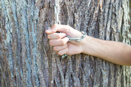 hand with string and tree, environment protection 版權商用圖片