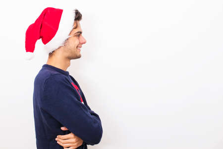young man isolated with christmas clothes