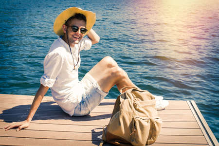 young travel, adventure and explorer Stock Photo
